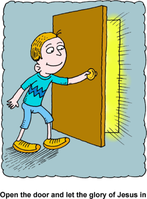 Child opening door clipart free Image: Boy opening door with glorious rays pouring through the ... free