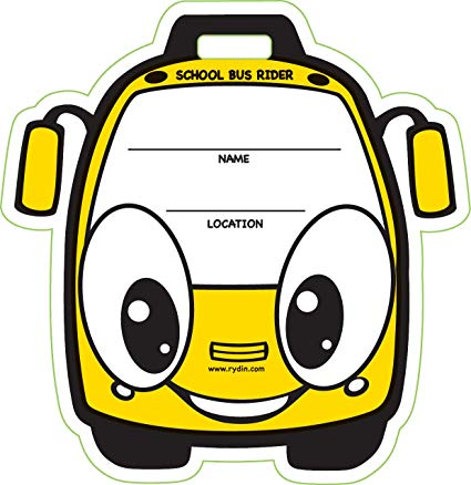 Child packing a backpack with toys clipart picture black and white stock Amazon.com: Child School Bus Rider Backpack Tag - 50 Pack: Toys & Games picture black and white stock