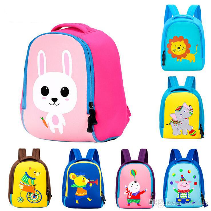 Child packing a backpack with toys clipart picture black and white library Toddler Kids Cute Animal Printing Backpack Children 3D Neoprene School Bags  Kindergarten Baby Girls Boys Cartoon Zoo Pack Rabbit picture black and white library