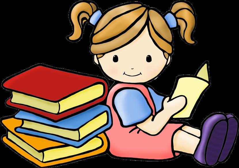Child read a book clipart