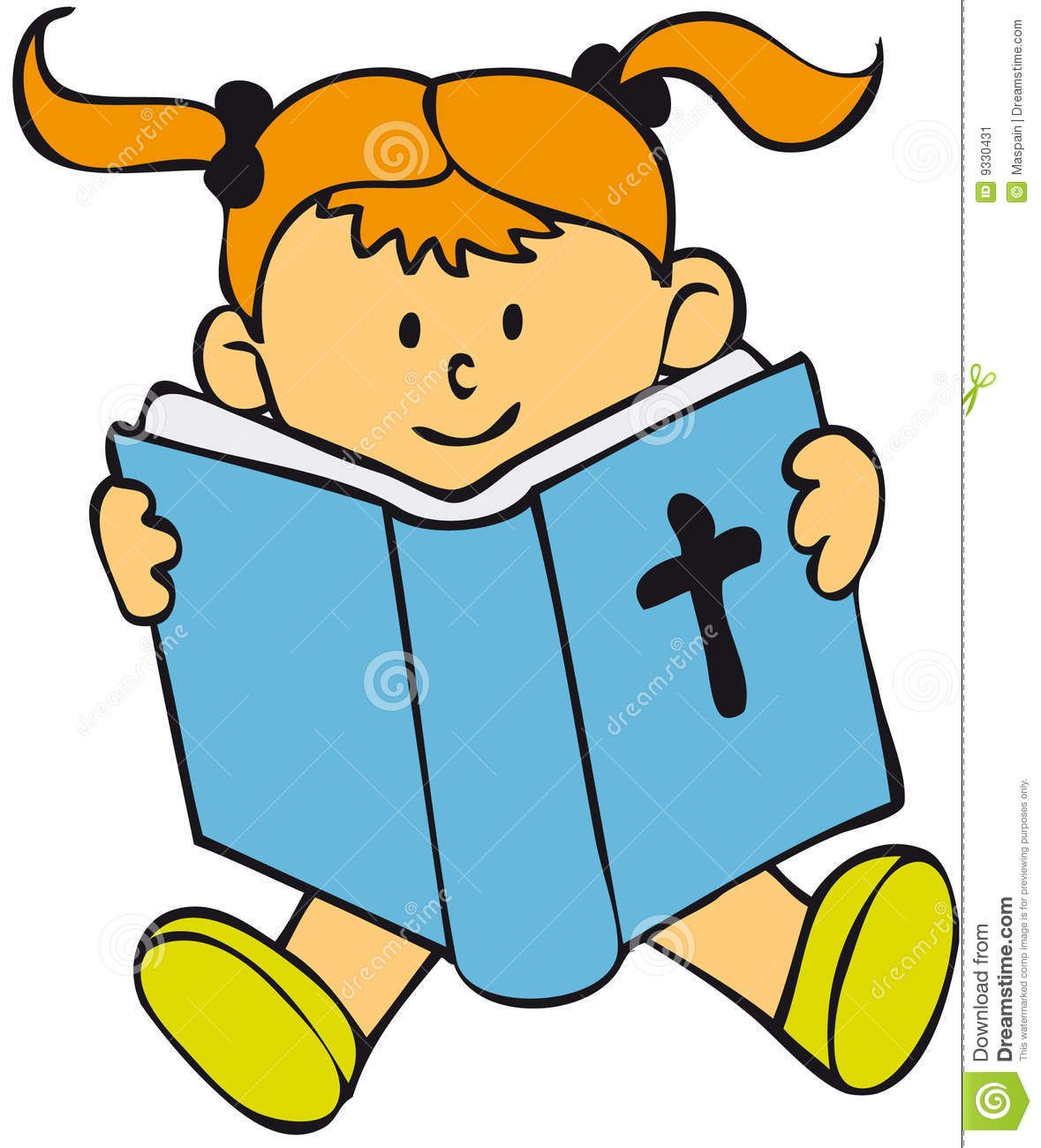 Picture of toddler reading the bible clipart