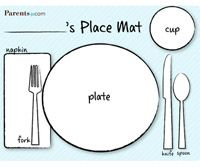 Child set table clipart black and white svg royalty free stock Printable Table-Setting Place Mats   Table Setting for Kids ... svg royalty free stock
