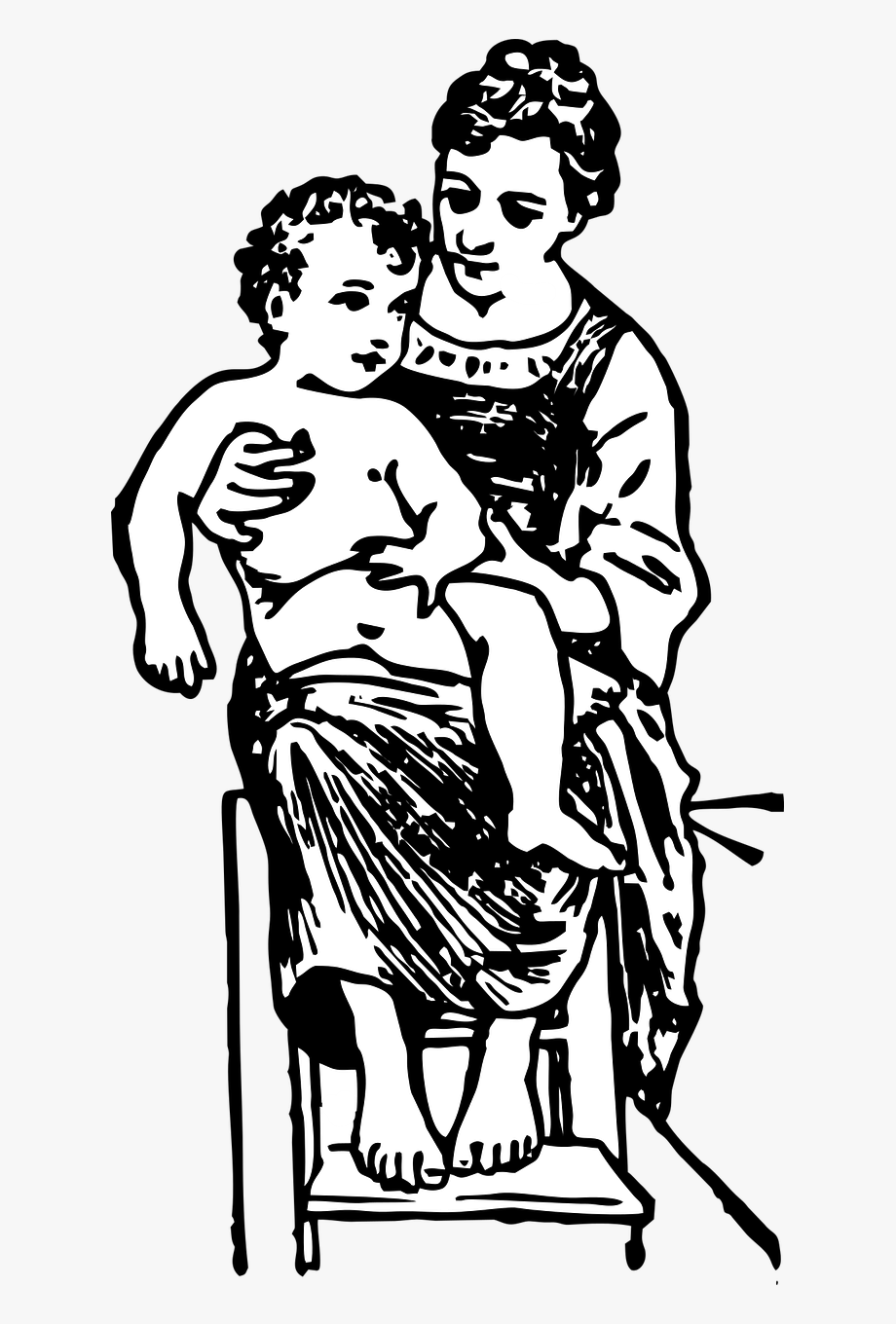 Care family love woman. Free black and white clipart mother and child