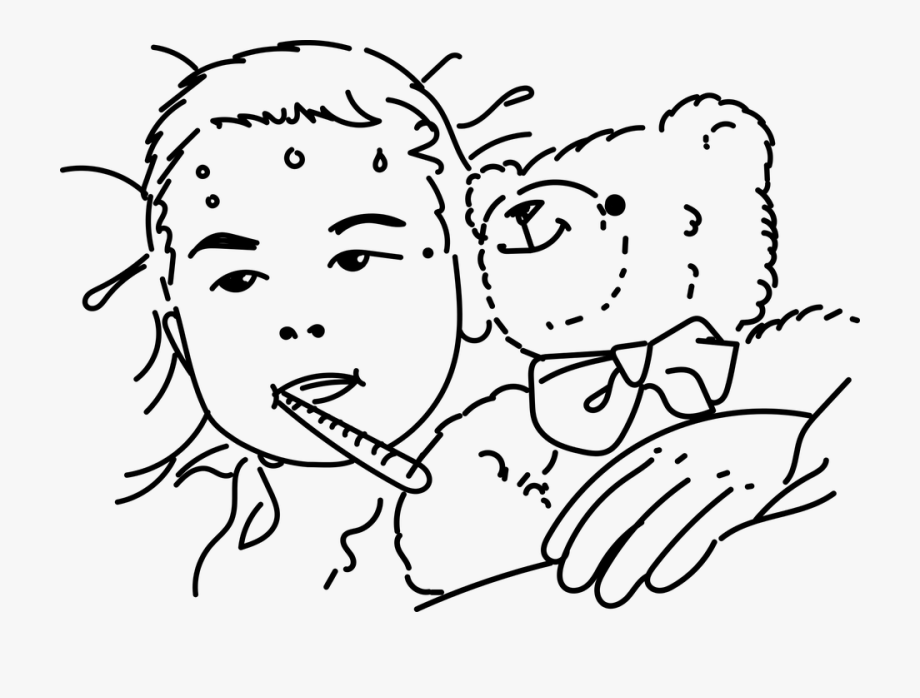 Child sick in bed black and white clipart png freeuse download Child Sick Bears - Sick Clipart Black And White #1138402 - Free ... png freeuse download