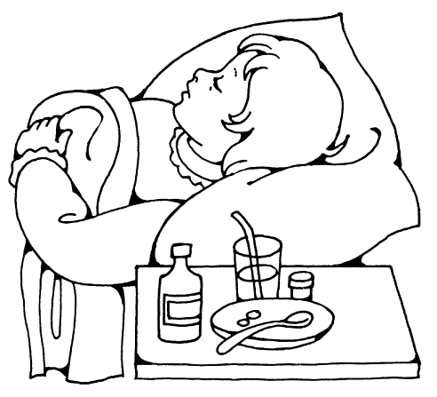 Child sick in bed black and white clipart transparent stock Sick Child transparent stock