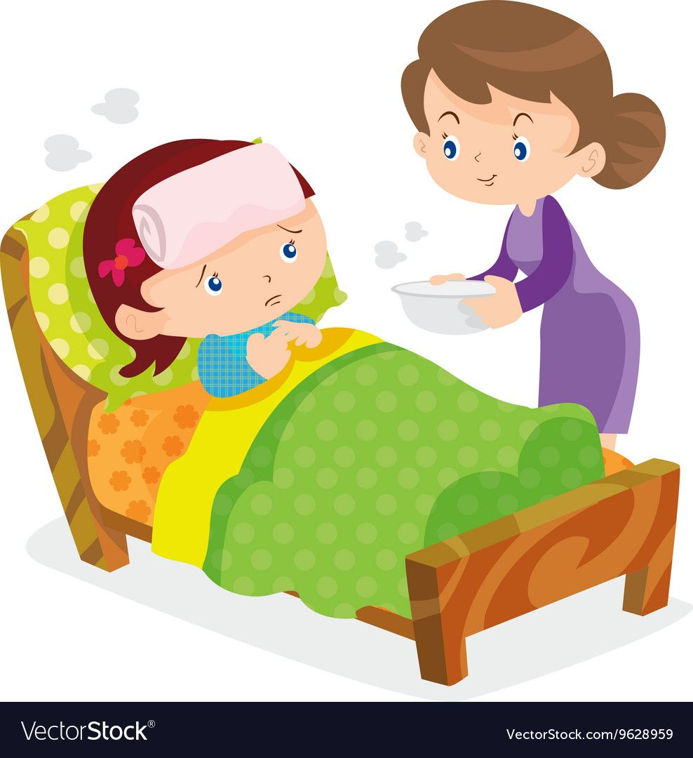 Sick clipart kid picture transparent library Mother take care sick girls Royalty Free Vector Image | شخصيات ... picture transparent library