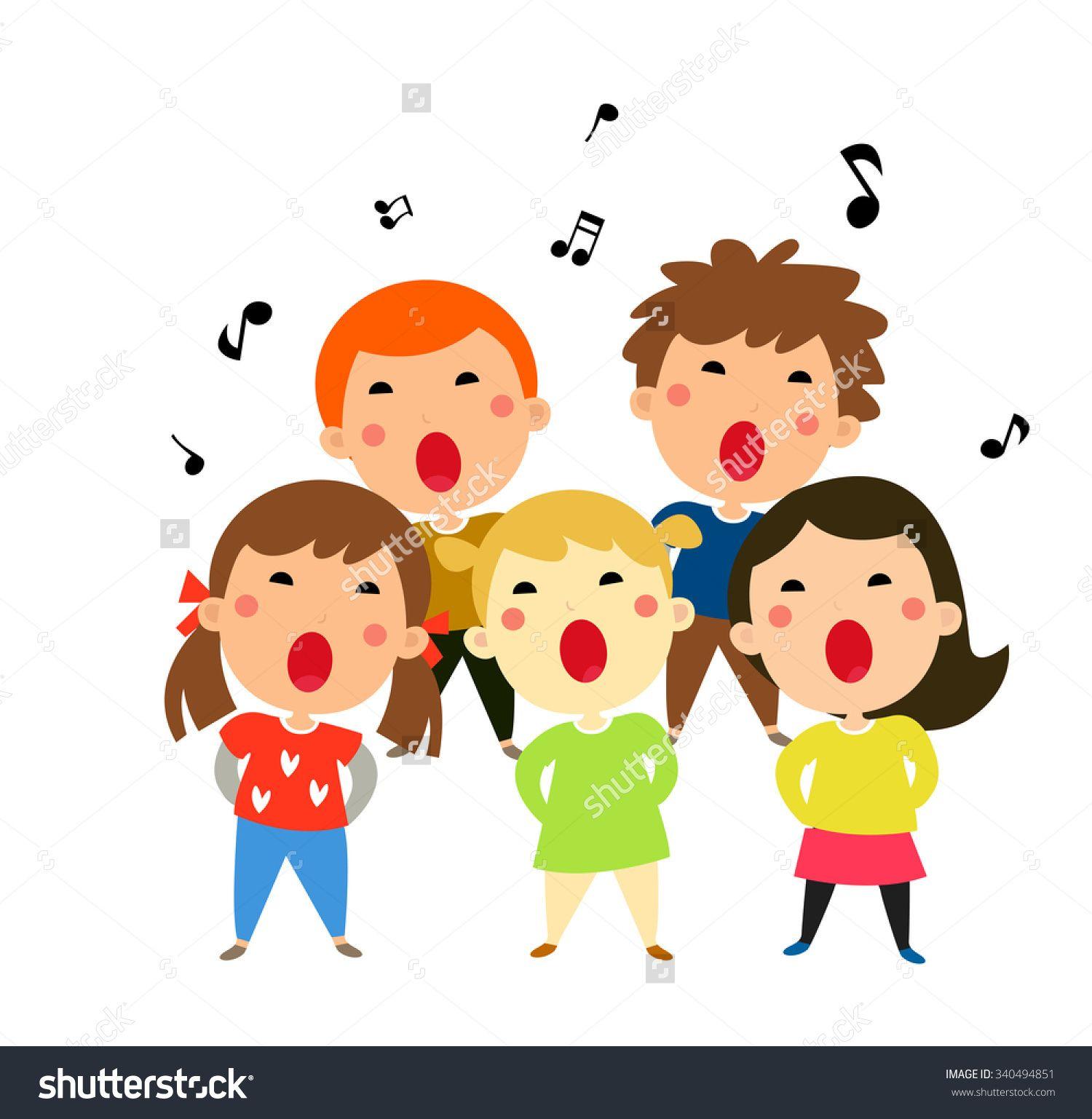 Clipart children sing together