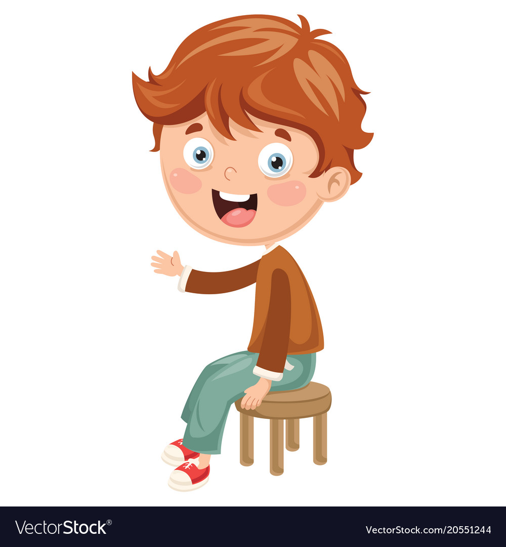 Child sitting in chair clipart graphic Kid sitting on chair graphic