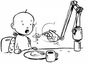 Child spoon fed clipart download A Baby Being Spoonfed By a Robotic Arm - Royalty Free Clipart Picture download