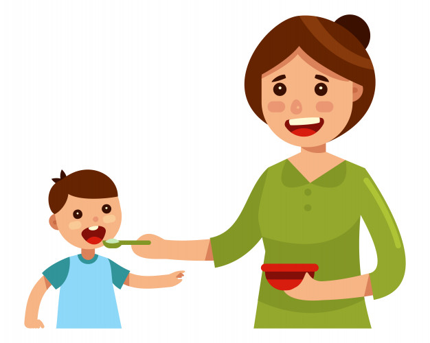 Child spoon fed clipart