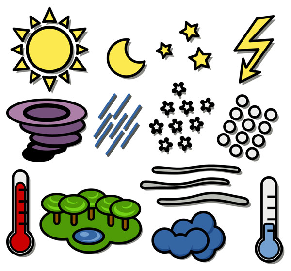 Child symbols clipart clipart black and white library Weather Forecast Symbols For Children - Free Clipart clipart black and white library