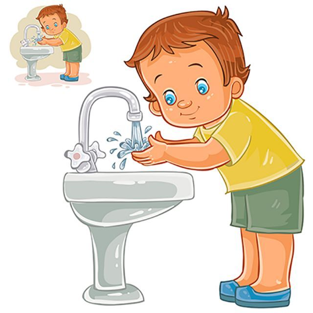 Child washing face clipart