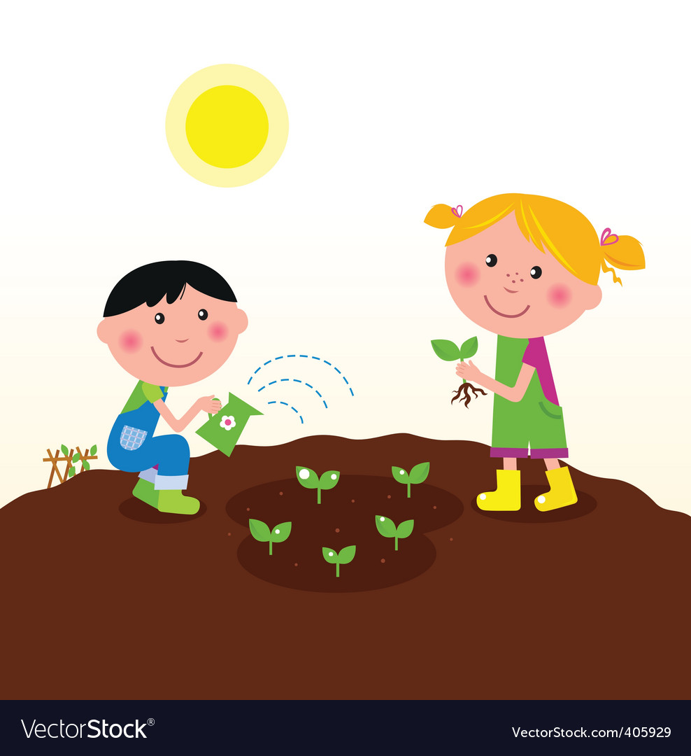 Kids planting flowers clipart