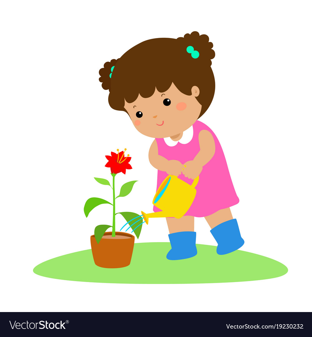 Child watering plants clipart clip art transparent library Cute cartoon girl watering plant clip art transparent library