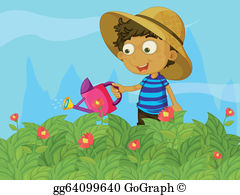 Child watering plants clipart clip art freeuse Child Watering Plants Clip Art - Royalty Free - GoGraph clip art freeuse