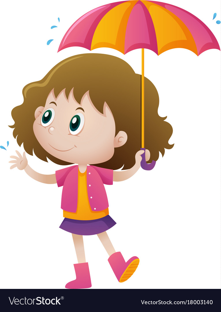 Holdingumbrella clipart png royalty free download Little girl holding umbrella vector image png royalty free download