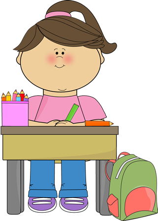 Clipart images of kids doing school work vector black and white Kid Doing School Work Clip Art Image - girl sitting at her desk ... vector black and white