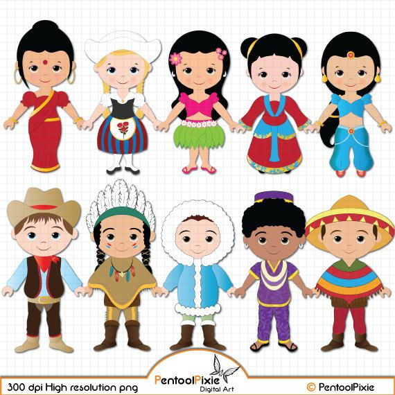 Unity among kids clipart black and white cartoon clipart freeuse Children of the World clipart PART 1, Children around the World ... clipart freeuse