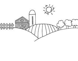 Barn on hill clipart clip royalty free Black and White Cartoon Barn | Farm Clipart Image - Black and White ... clip royalty free