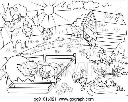 Children at a farm clipart black and white image library Vector Clipart - Farm animals and rural landscape coloring vector ... image library