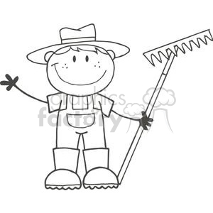 Children at a farm clipart black and white svg transparent library black and white farmer boy holding a rake clipart. Royalty-free clipart #  379790 svg transparent library
