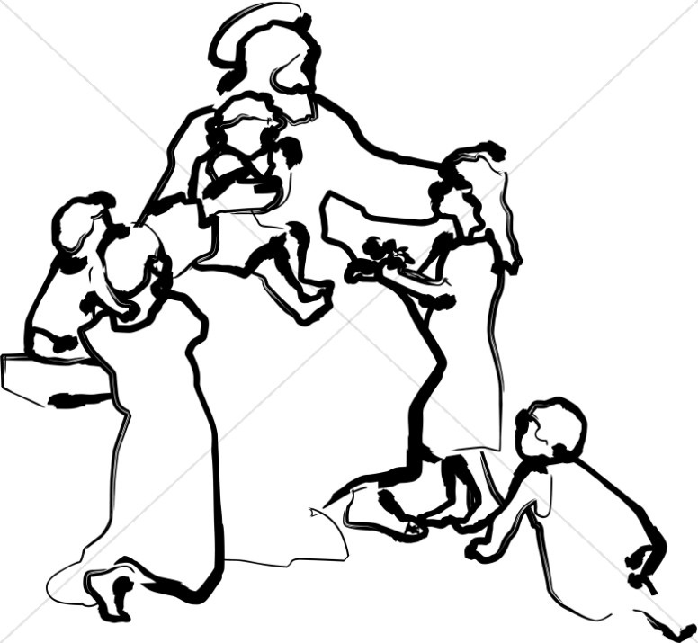 Children at church clipart black and white graphic black and white download Line Art Jesus Teaching the Children | Childrens Church Clipart graphic black and white download