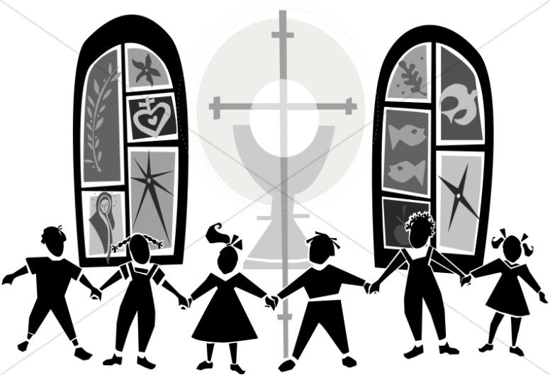 Church kids clipart banner stock Black and White Kids at Church   Childrens Church Clipart banner stock
