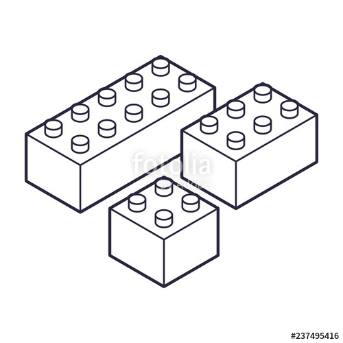 Children building with blocks clipart black and white graphic library stock Plastic Building Blocks and Tiles black white outline version ... graphic library stock