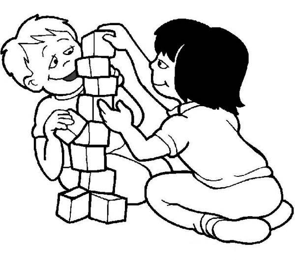 Children building with blocks clipart black and white clipart freeuse library Back to School, : Playing | Clipart Panda - Free Clipart Images clipart freeuse library