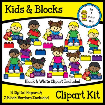 Children building with blocks clipart black and white png black and white stock Kids & Building Blocks Clipart Kit (lego like) png black and white stock