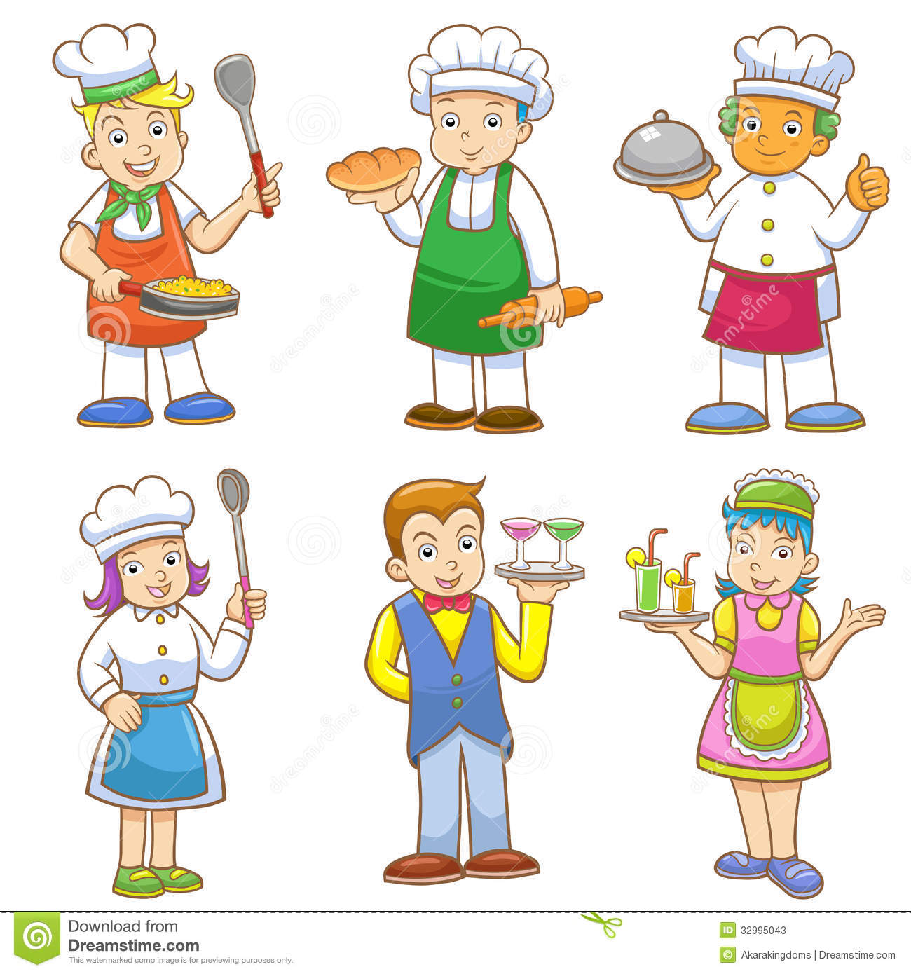 Children chef clipart. Kids cooking stock illustrations
