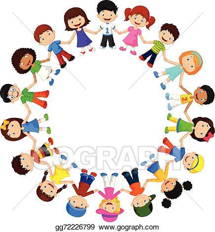 Children circle clipart image transparent download EPS Vector - Circle of happy children different . Stock Clipart ... image transparent download