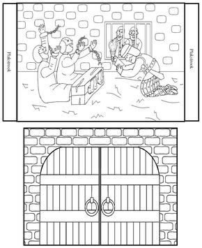 Children clipart paul s joy in prison bible stories clip Paul And Silas In Jail Coloring Page   bible crafts   Sunday school ... clip