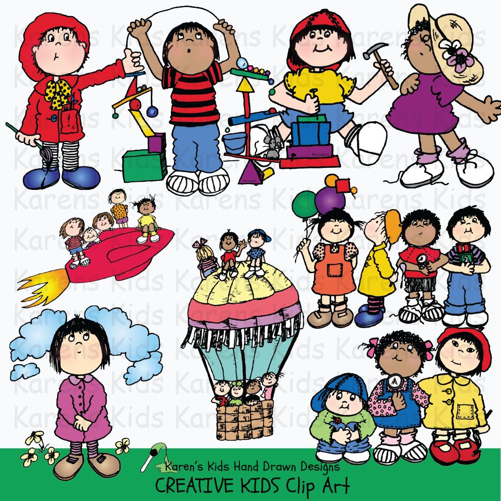 Children creating art clipart vector freeuse stock Clip Art Creative Kids vector freeuse stock
