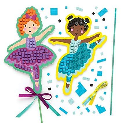 Children creating art clipart clipart black and white download Amazon.com: Baker Ross Ballerina Mosaic Wand (Pack of 4) Kits ... clipart black and white download