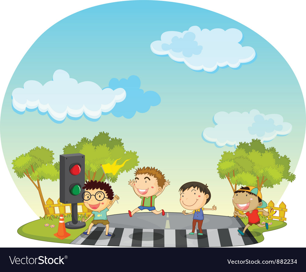 Children crossing the street clipart svg royalty free download Children crossing street svg royalty free download