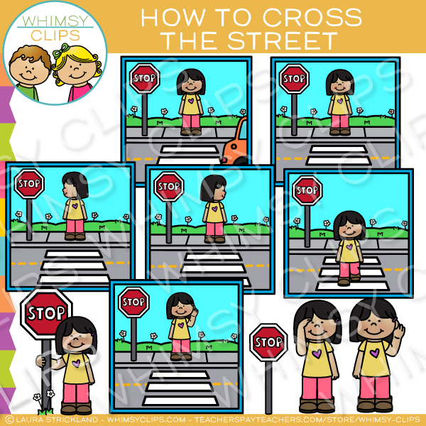 Children crossing the street clipart banner transparent stock Kids Show How to Cross The Street Clip Art banner transparent stock