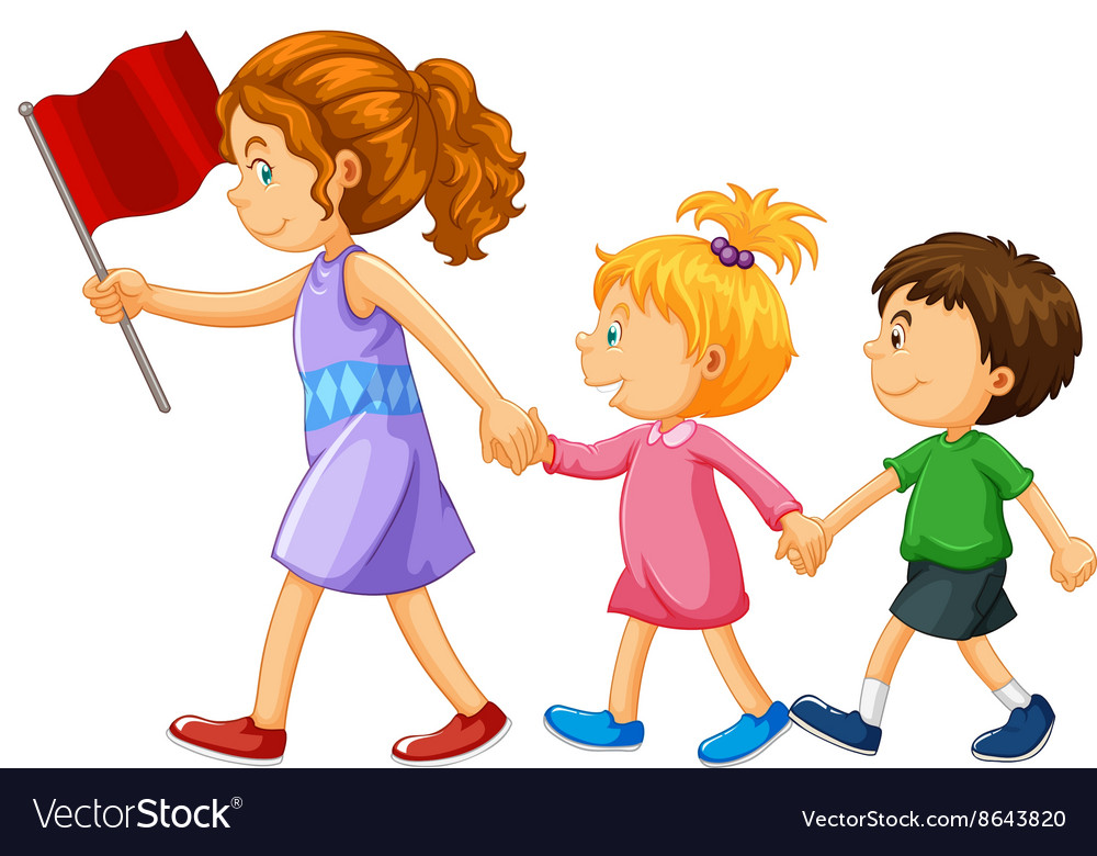 Children crossing the street clipart vector black and white library Woman helping children crossing street vector black and white library