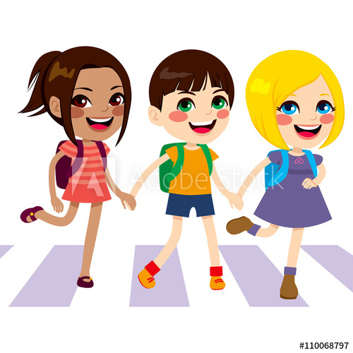 Children crossing the street clipart clip free library Three cute happy little kids crossing street walking through ... clip free library