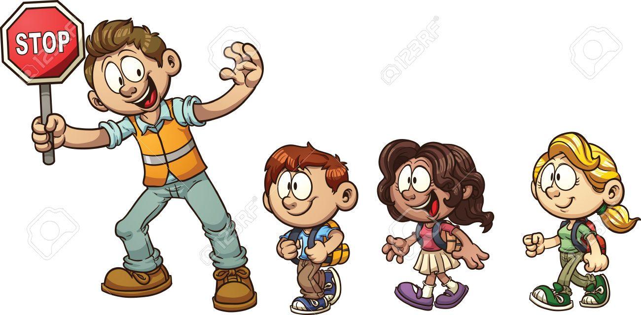 Children crossing the street clipart clipart library download Stock Vector   Clip art   Clip art, Illustration art, Art clipart library download