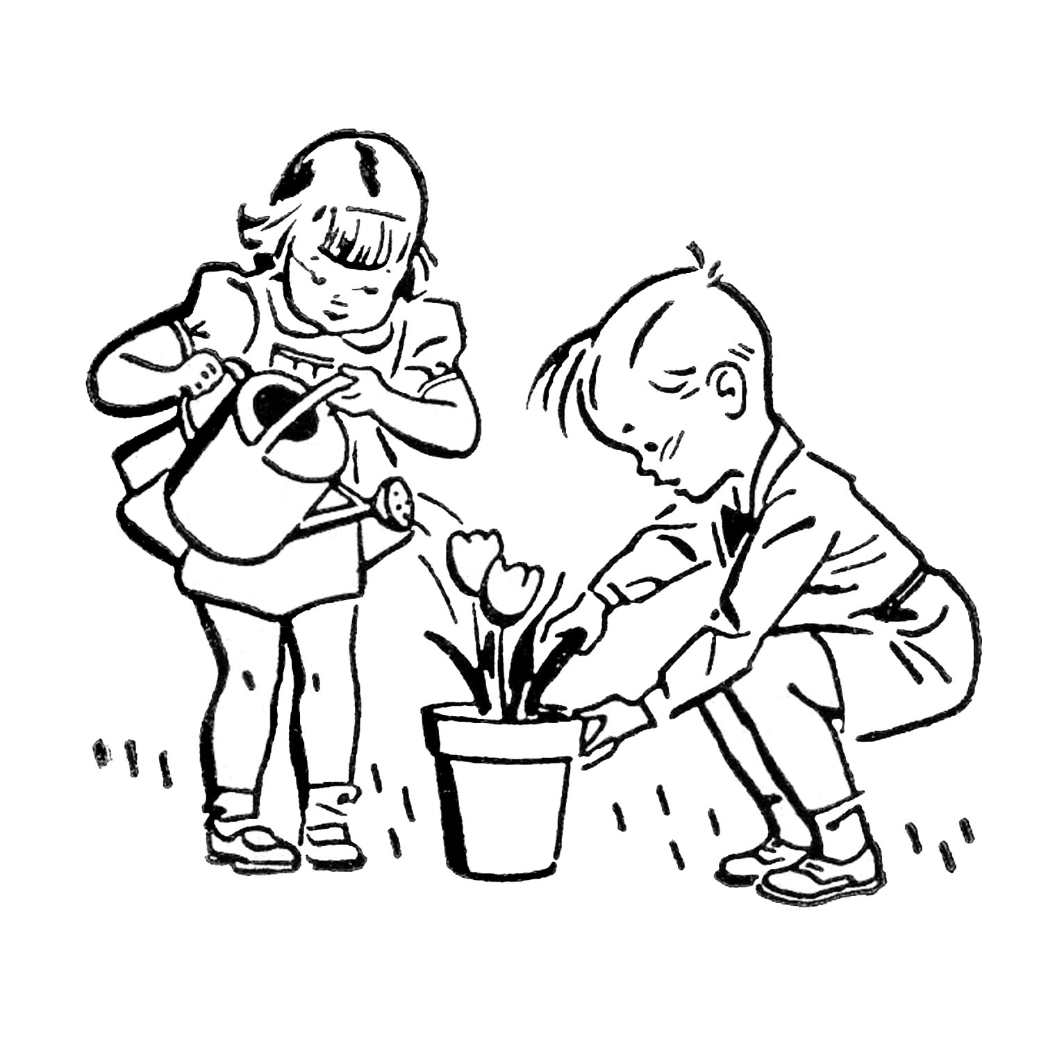 Children doing chores clipart black and white clip royalty free download Retro Images - Cute Kids - Gardening - Fishing - Playing - The ... clip royalty free download