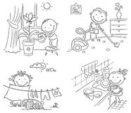 Toddler doing chores clipart black and white banner black and white stock Kids Doing Chores Clipart Black And White banner black and white stock