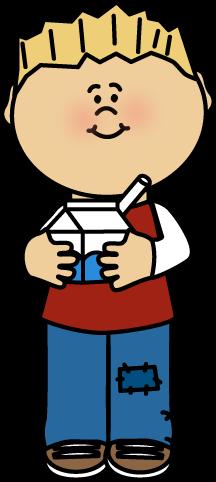 Children drink milk clipart