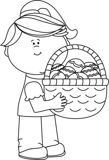 Children easter hat image clipart black and white svg freeuse stock Easter Kids Clip Art - Easter Kids Images svg freeuse stock