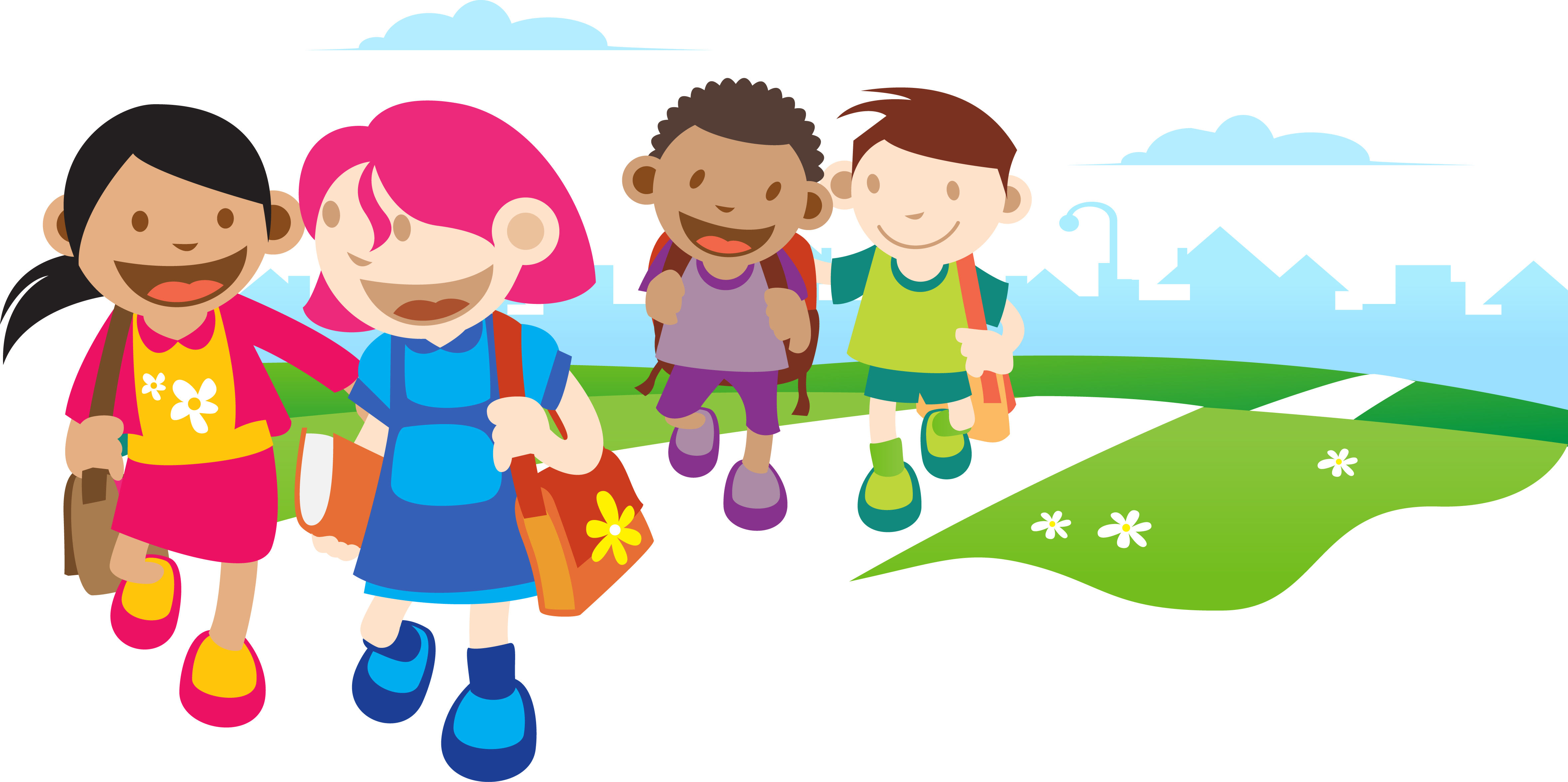 Children go to school clipart vector freeuse stock Kids Going To School Clipart | Free download best Kids Going To ... vector freeuse stock
