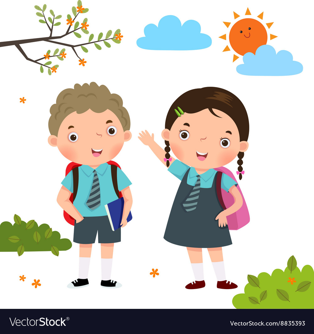Children go to school clipart banner download Two kids in school uniform going to school banner download
