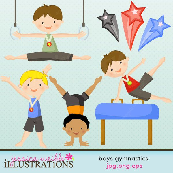 Clipart little girl falling tumbling picture download Boys Gymnastics Cute Digital Clipart - Commercial Use OK ... picture download