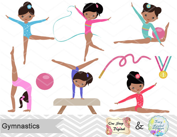 Gymnast clipart black girl graphic freeuse download Gymnastics Digital Clipart, Digital Girls Gymnastics Clip Art ... graphic freeuse download