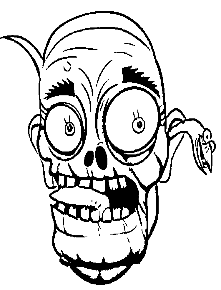 Halloween clipart zombie image transparent library Face Zombie Coloring For Kids - Halloween cartoon coloring pages ... image transparent library
