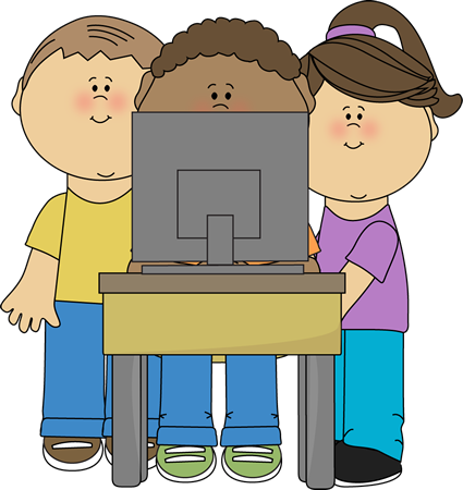 Children in a computer clipart image royalty free library Kids Using School Computer Clip Art - Kids Using School Computer ... image royalty free library